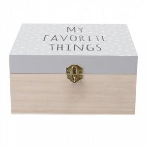 Cutie depozitare din lemn cu capac gri 20x20 cm Favorite Things Bloomingville