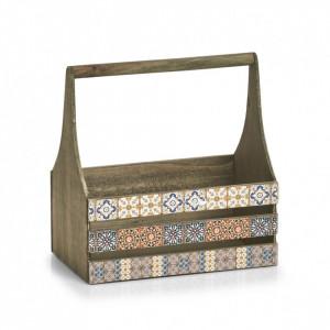 Cutie multicolora din lemn si placaj Mosaic Handle Zeller