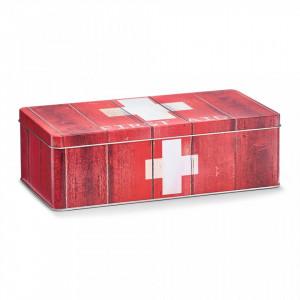 Cutie rosie/alba cu capac din metal pentru medicamente First Aid Red Maxi Zeller