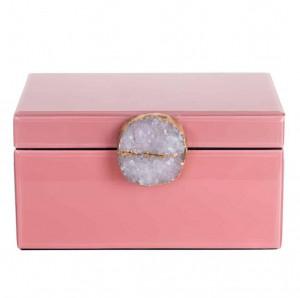 Cutie roz din sticla si MDF pentru bijuterii Maisie Richmond Interiors