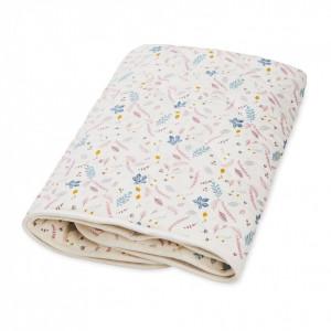 Cuvertura matlasata din bumbac pentru copii 100-100 cm Diaz Pressed Leaves Rose Cam Cam