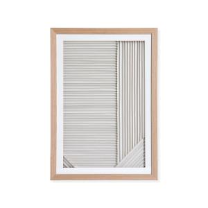 Decoratiune alba/maro din carton si lemn pentru perete 42x60 cm Layered Art HK Living