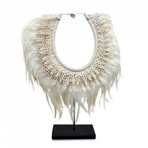Decoratiune crem din scoici si pene 45 cm Necklace Versmissen