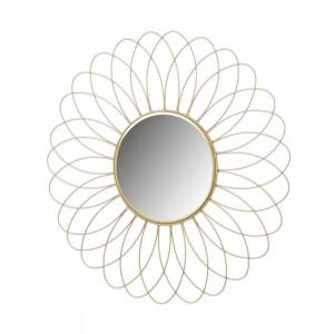 Decoratiune cu oglinda aurie din fier pentru perete 49 cm Fleur Unimasa