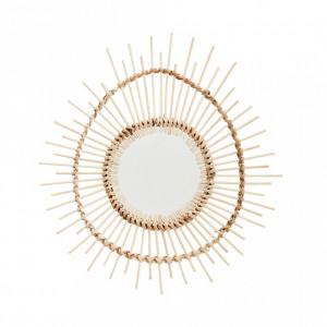 Decoratiune cu oglinda maro din lemn pentru perete 28x30 cm Iris Madam Stoltz