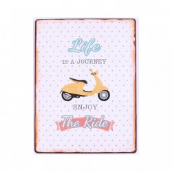 Decoratiune de perete multicolora din metal 26,5x35 cm Life is a Ride