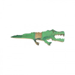 Decoratiune de perete verde din lemn reciclat 16x50 cm Crocodile Raw Materials