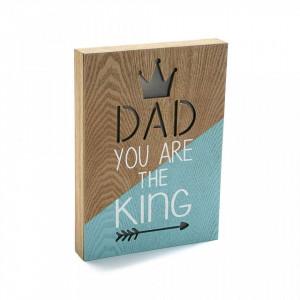 Decoratiune luminoasa maro/albastra din lemn Dad King Versa Home