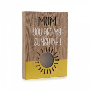 Decoratiune luminoasa maro/galbena din lemn Mom Sunshine Versa Home