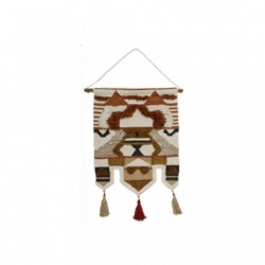 Decoratiune multicolora din lemn si bumbac pentru perete 65x90 cm Rorie Small LifeStyle Home Collection