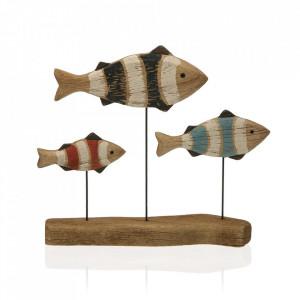 Decoratiune multicolora din lemn si metal 24 cm Fish Versa Home