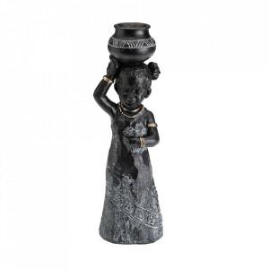 Decoratiune neagra/gri din rasina 25 cm Adelphie Versa Home