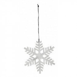 Decoratiune suspendabila alba/gri argintiu din placaj Snowflake Nordal