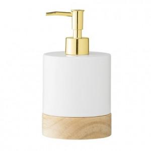 Dispenser sapun lichid alb/auriu din portelan 10x18 cm Soap Bloomingville