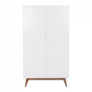 Dulap alb/maro din MDF si lemn 198 cm Trendy Two Quax