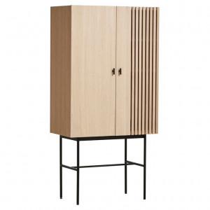 Dulap maro/negru din lemn de stejar si metal 180 cm Array Woud