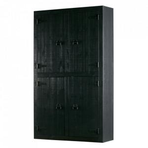 Dulap negru din lemn de pin 200 cm Bunk Woood