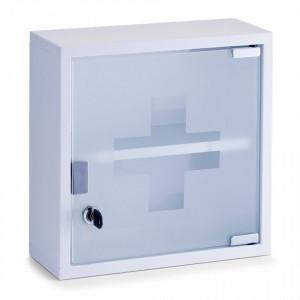 Dulapior alb din metal si sticla pentru medicamente Medicine Cabinet White Zeller