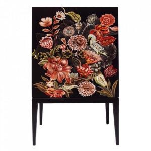 Dulapior negru/multicolor din lemn de molid si MDF Flores Denzzo