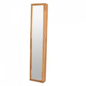 Dulapior pentru chei cu oglinda maro din lemn de stejar si metal Confetti Rowico Home