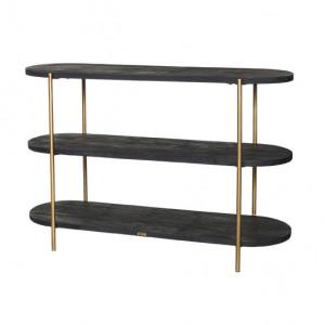 Etajera neagra/aurie din lemn si metal 80 cm Delon LifeStyle Home Collection