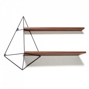Etajera neagra/maro din lemn si fier pentru perete 64 cm Butterfly Serax