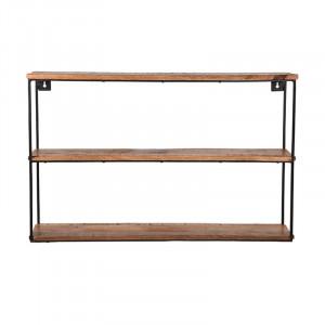 Etajera neagra/maro din lemn si metal pentru perete 50 cm Lenu Vintage LABEL51