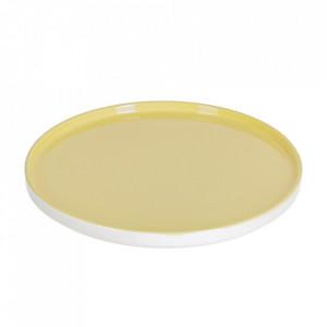 Farfurie intinsa alba/galbena din portelan 24 cm Midori Kave Home