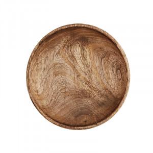 Farfurie maro din lemn 21,5 cm Frenske Madam Stoltz