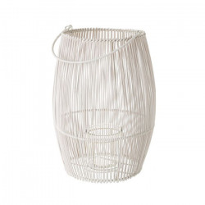 Felinar alb din bambus si metal 36 cm Sofia Unimasa