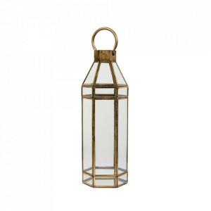 Felinar auriu/transparent din fier si sticla 46 cm Alana LifeStyle Home Collection