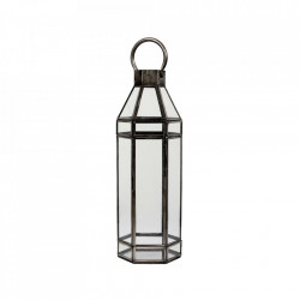 Felinar gri/transparent din fier si sticla 46 cm Alana LifeStyle Home Collection