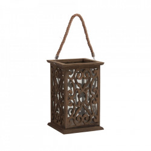 Felinar maro/transparent din lemn si sticla 36 cm Adon Vical Home