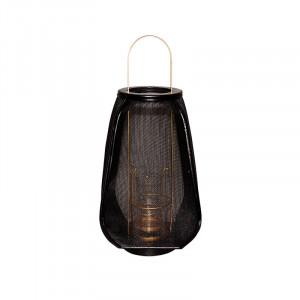 Felinar negru din sticla si fier 45 cm Quito Lifestyle Home Collection