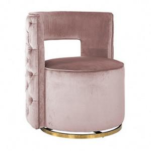 Fotoliu rotativ roz/auriu din catifea si inox Jamie Richmond Interiors