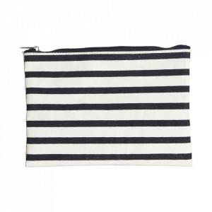 Geanta alba/neagra din textil pentru cosmetice 15x21 cm Stripes House Doctor