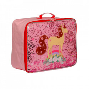 Geanta de voiaj multicolora din poliester Glitter Horse A Little Lovely Company