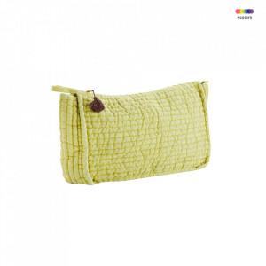 Geanta matlasata galbena/roz din in 20x30 cm pentru cosmetice Yellow Toilet Bag Madam Stoltz