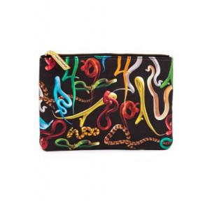Geanta multicolora din poliester si poliuretan 15,5x21 cm pentru cosmetice Snakes Toiletpaper Seletti