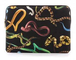 Geanta multicolora din poliester si poliuretan 25x34,5 cm pentru laptop Snakes Toiletpaper Seletti