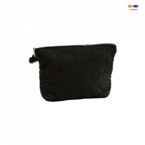 Geanta neagra din in si bumbac 20x30 cm pentru cosmetice Embroidered Bag Black Madam Stoltz