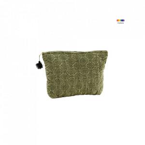 Geanta verde din in si bumbac 16x25 cm pentru cosmetice Embroidered Bag Olive Mini Madam Stoltz