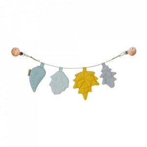 Ghirlanda decorativa multicolora din bumbac organic Pram Leaves Mix Mustard Cam Cam