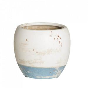 Ghiveci alb/albastru din ceramica 18 cm Beart Ixia