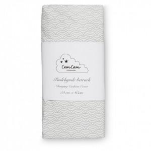 Husa din bumbac organic pentru salteaua de infasat 50x65 cm Melissa Grey Wave Cam Cam