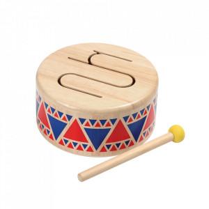 Jucarie muzicala toba multicolora din lemn Solid Drum Plan Toys