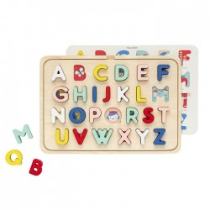 Jucarie tip puzzle multicolora din lemn Alphabet Petit Collage