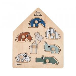 Jucarie tip puzzle multicolora din placaj Friends Done by Deer