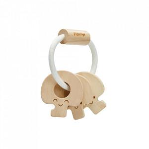 Jucarie zornaitoare maro din lemn Baby Key Rattle Plan Toys