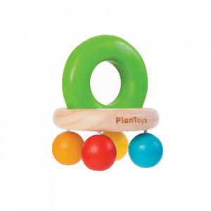 Jucarie zornaitoare multicolora din lemn Bell Rattle Plan Toys